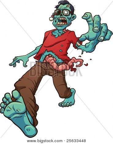 Walking zombie wearing glasses. Vector illustration with simple gradients. All in a single layer.