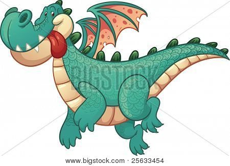 Cute cartoon green dragon. Vector illustration with simple gradients. All in a single layer.