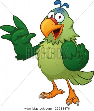 Green parrot waving, Vector illustration with simple gradients. All in a single layer.