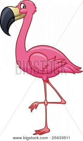 Cute cartoon flamingo. Vector illustration with simple gradients. All in a single layer.