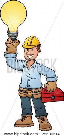 Electrician holding a lightbulb. Vector illustration with simple gradients. All in a single layer.