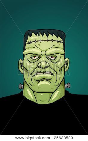 Cartoon Halloween Frankenstein. Vector illustration with simple gradients. One single layer.