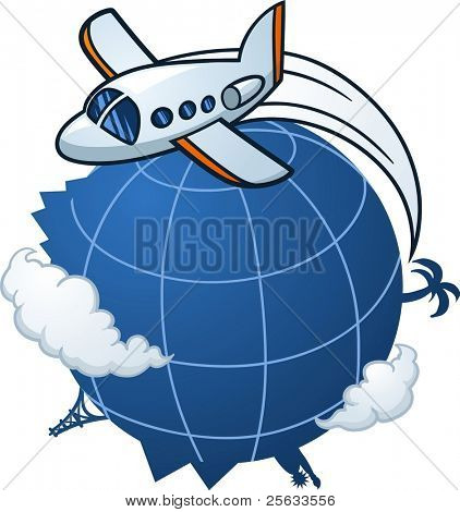 Cartoon airplane traveling around the world. Vector illustration with simple gradients. All elements in three separate layers for easy editing.