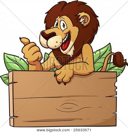 Cartoon lion with wooden sign. Vector illustration with simple gradients. All in a single layer.