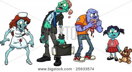 Four cartoon zombies. Vector illustration with simple gradients. Each in  a separate layer for easy editing.