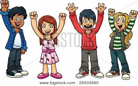 Excited cartoon kids. Vector illustration with simple gradients. Each in a separate layer for easy editing.