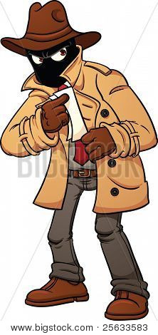 Mysterious spy holding documents. Vector illustration with simple gradients. All in a single layer.