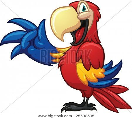 Cute cartoon macaw. Vector illustration with simple gradients. One single layer.