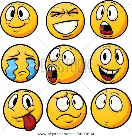 Yellow cartoon emoticons. Vector illustration with simple gradients. Each in a separate layer for easy editing.