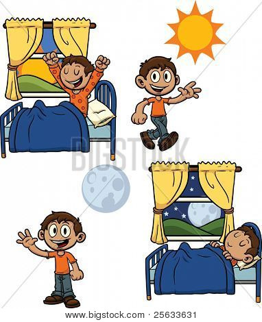 Cartoon kid waking up and going to bed. All elements are in separate layers for easy editing.