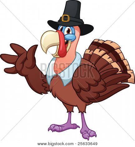 Cute cartoon Thanksgiving turkey. Vector illustration with simple gradients. All in a single layer.