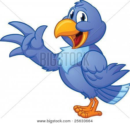 Cute cartoon blue bird. Vector illustration with simple gradients. All in a single layer.