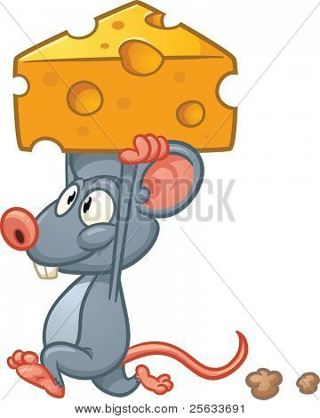 Cute cartoon mouse holding a piece of cheese. Vector illustration with simple gradients. All in a single layer.