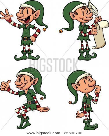 Cute cartoon Christmas Elves. Each in a separate layer for easy editing.