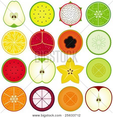 Una colección de vector de fresco, lindo de vegetales, frutas, cortar por la mitad aislado en blanco