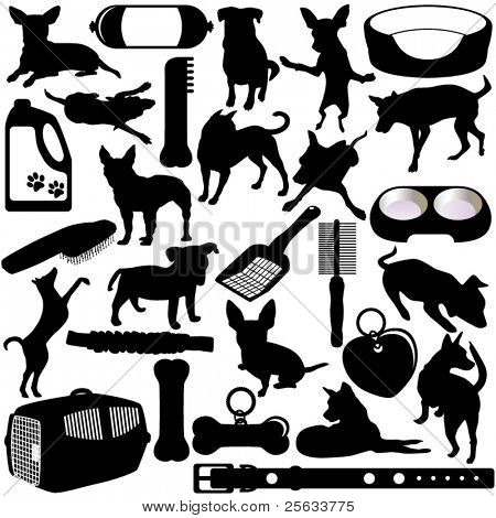 Vector Silhouettes of Dogs, Puppies and Accessories in different actions