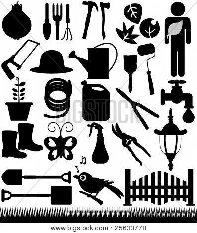 Un sistema de Vector silueta - palas, picas y herramientas de jardín