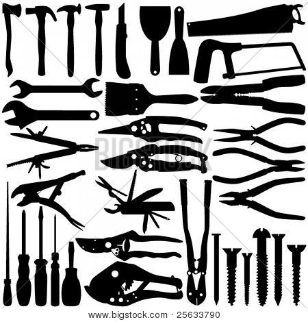 A set of Vector Silhouette -  Construction Equipments / Tools isolated on white