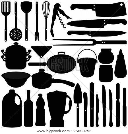 Una colección de vector de horno / cocina herramientas siluetas (blanco y negro)