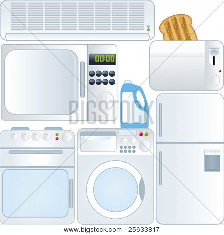 A vector collection of Electronic devices - Household Applicants isolated on white