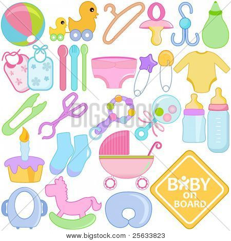 A vector collection of Accessories for Mom and Baby : Tools in Pastel