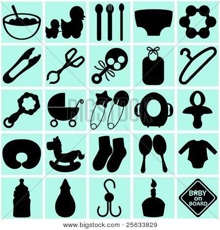 eine Vektor-Sammlung von Zubehör für Mama und Baby: Silhouetten von Tools (schwarz und weiß)