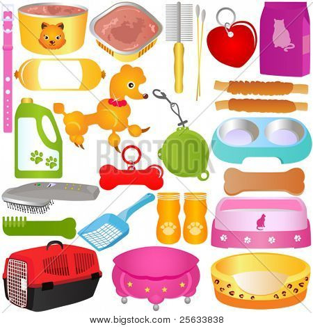 A colorful Vector set of Cats / Dogs, Food and Accessories, isolated on white background