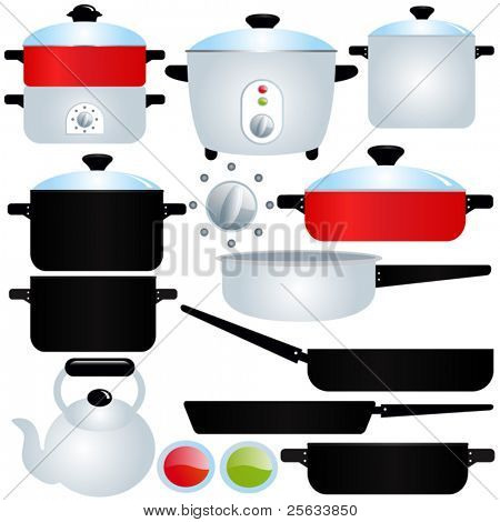 A set of Vector Icons : coated Pot and Pan : Cooking Utensils