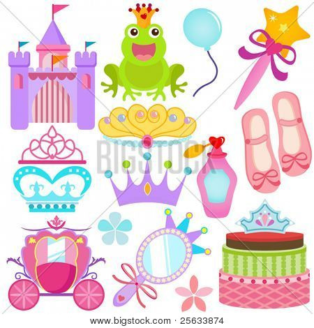 A colorful set of Vector Icons : Sweet Princess Set