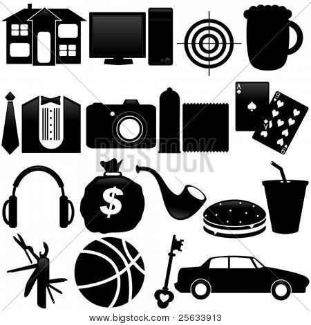 A Vector Silhouette of Icons : What men want, isolated on white