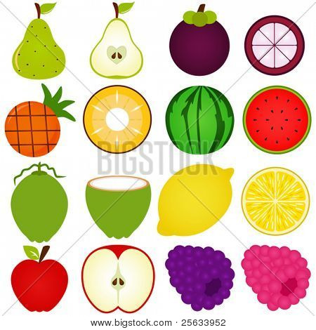 A vector collection of Fresh, Cute Vegetable, fruit cut in half isolated on white
