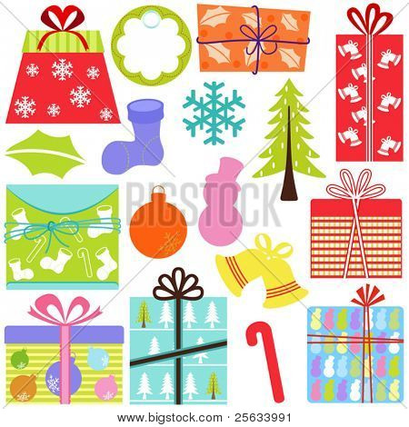 A set of simple and cute vector Icons : Gift Boxes (present), Christmas theme, pastel color isolated on white