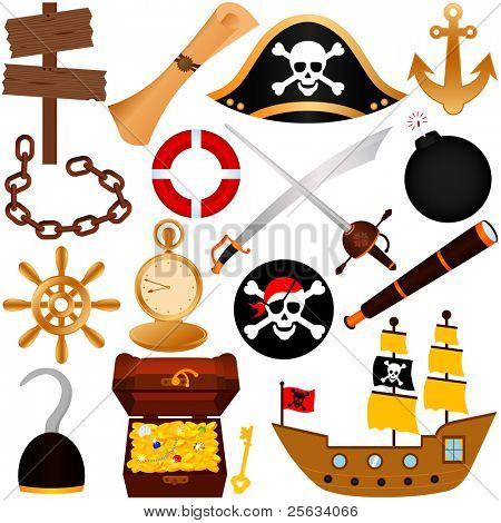 A colorful vector Theme of Pirate, equipments, sailing.