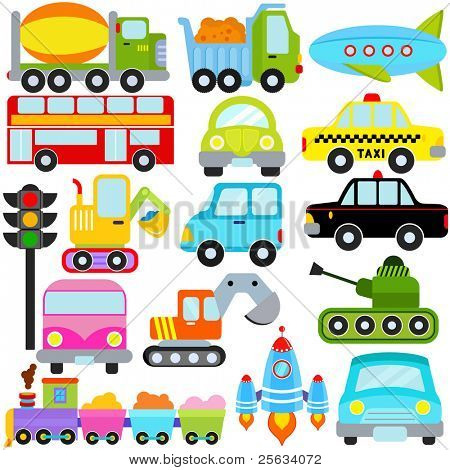 A colorful set of cute Vector Icons : Car / Vehicles / Transportation