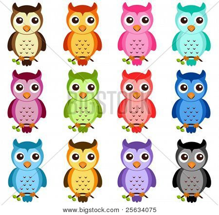 A colorful Theme of cute vector Icons : Night Owls isolated on white