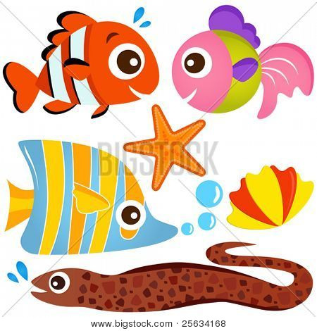 A colorful set of cute Animal Vector Icons : Fish and Sea life