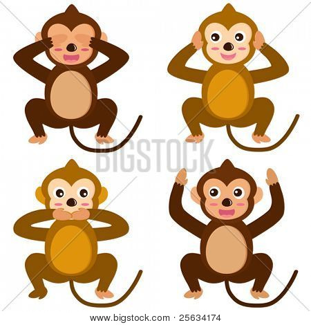 A colorful set of cute Animal Vector Icons : Monkey - See Hear Speak No Evil