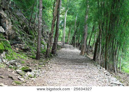 Hellfire Pass Trail, Death Railway - The Second World War memorial in Kanchanaburi, Thailand.