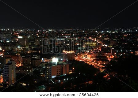 Bird View of Pattaya City at night, famous tourist attraction in Thailand