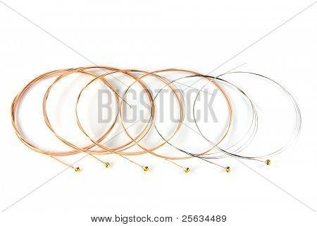 6 ultra thin coating Phosphor Bronze Acoustic Guitar Strings on white background
