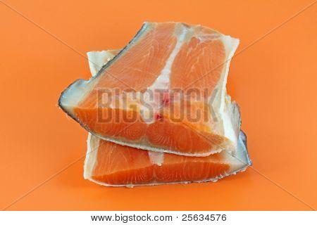 Closeup photo of fresh raw salmon