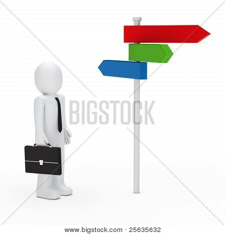 Business Man Team Choice Colorful Way