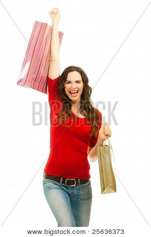 Beautiful Woman Happy To Finish Christmas Shopping