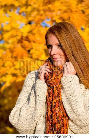 Autumn country sunset - portrait of long red hair woman