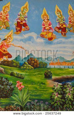 Mural of Buddha legend