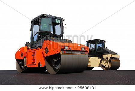 Two road-roller pressing new asphalt