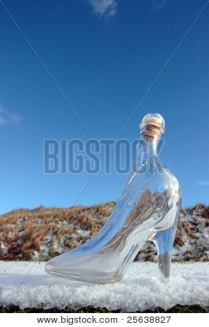 Glass High Heel Slipper On Snow Covered Surface