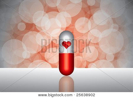 Red Pill And Heartbeat Symbol On Reflective Surface