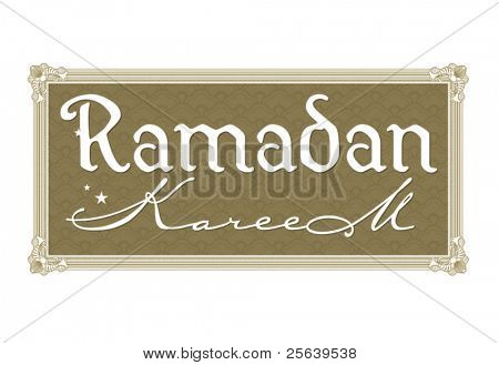 Ramadan greetings in english script. Translated from arabic as 'Ramadan Kareem'.