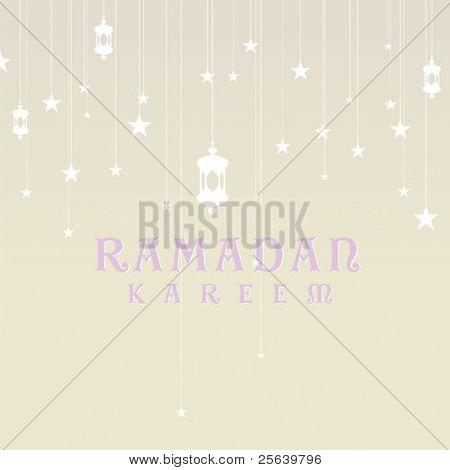 Ramadan greetings in english script. Vector, card template.